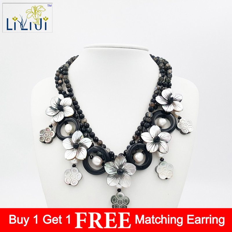 LiiJi Unique Natural Stone Agates,Shell Flowers,Freshwater Pearl 3 Strands Handmade Knitting Necklace Fashion Women Jewelry цена