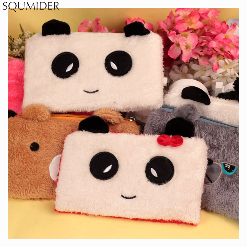 Plush Pen Bag For Girls Cute Rabbit Panda Bear Stationery Pencil Cases Pouch Kids Gift School Office Supply Estuche Love Popular