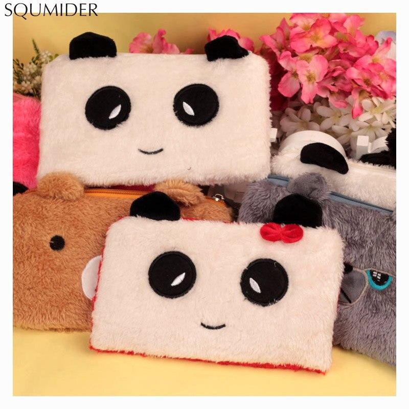 Plush Pen Bag For Girls Cute Rabbit Panda Bear Stationery Pencil Cases Pouch Kids Gift School Office Supply Estuche Love Popular