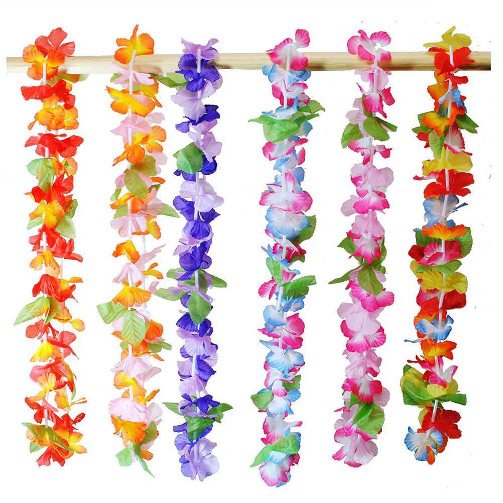 36 шт. Гавайская гирлянда гирлянды Гавайский тропический ожерелья полинезийский венок Искусственные цветы Луа Цветы вечерние поставки случайный цвет