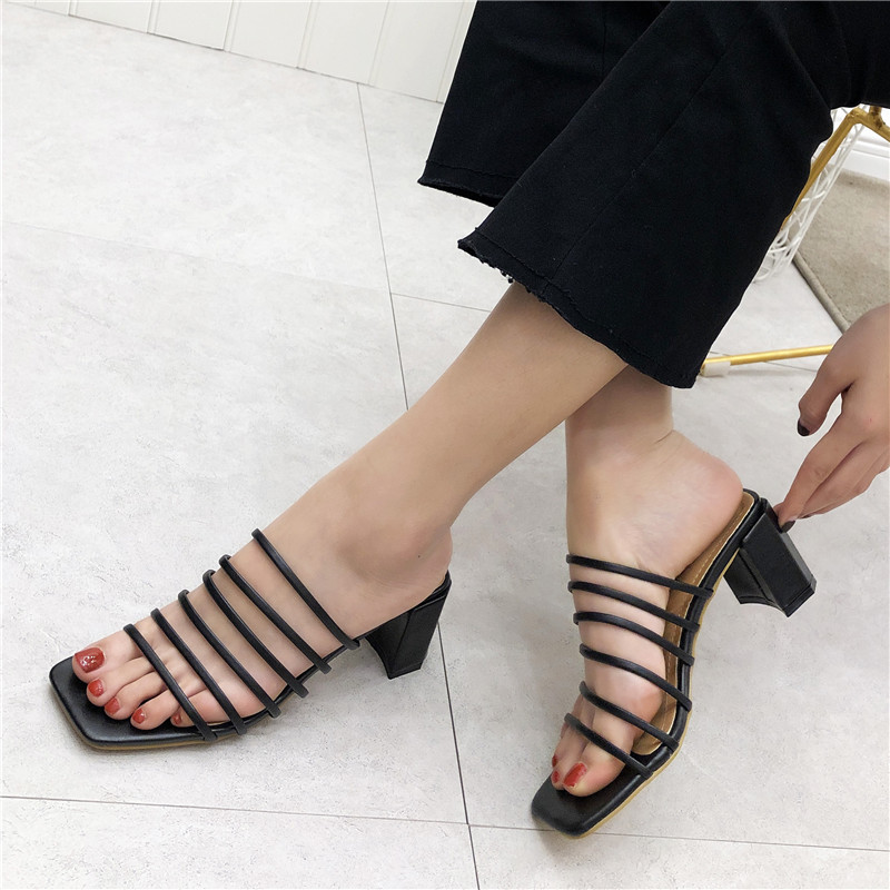 Women Summer Square Heel Slippers Lady Peep toe High heeled Roma Slides Gladiator Slip Ons Shoes