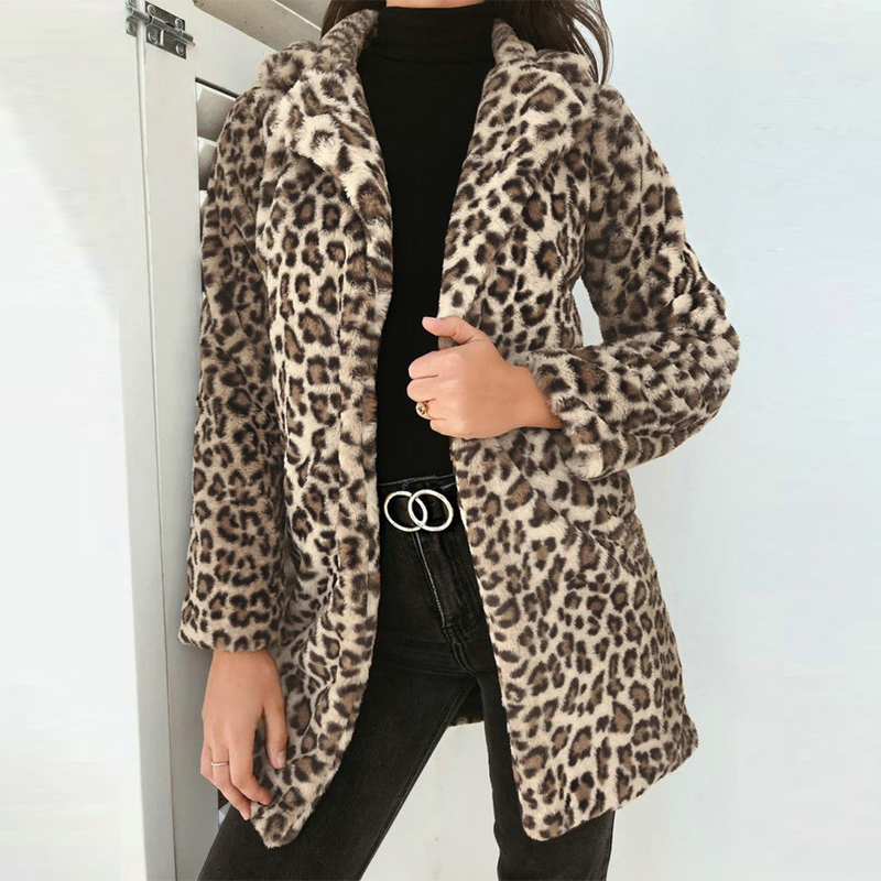 Warm Autumn Winter Womens Leopard Print Thick Long Open Stitch Coat Female Plus Size Loose Faux Fur Casual Trendy Cool Coat jeans con blazer mujer