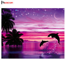 HUACAN Diamond Embroidery Landscape Diamond Painting Full Round Drill Needlework Rhinestone Mosaic Dolphin Home Decor(China)