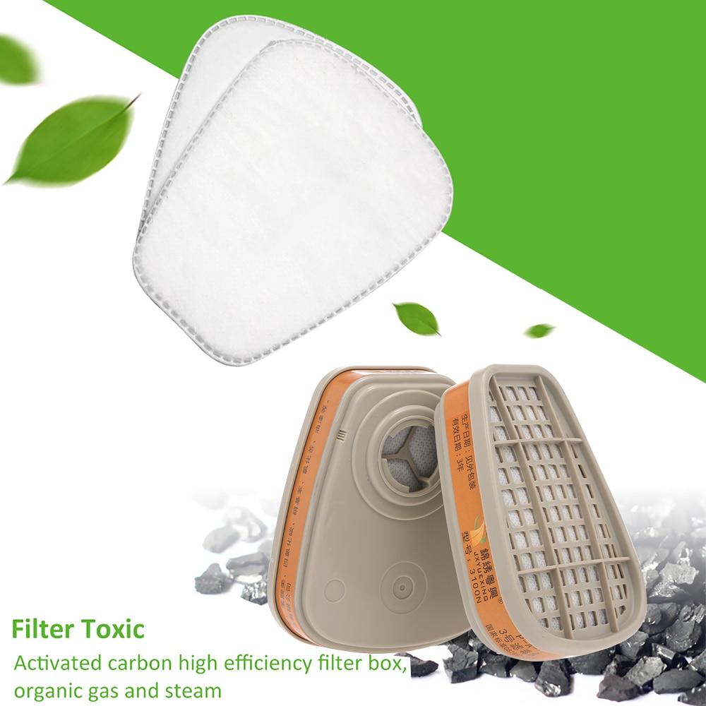 1 Par De Caja De Filtro De Carbón Activado Para Químicos Respirador Filtro De Máscara De Gas Para Pintar Pulverización Química
