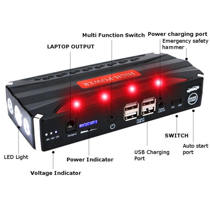 68800 mAh 4USB multi-fonction 12 V voiture saut démarreur batterie externe Rechargeable batterie Portable voiture saut démarreur Booster batterie - 4