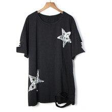 Новинка, модная женская футболка в стиле панк-рок, весна-лето, круглый вырез, короткий рукав, свободная футболка, женская футболка с геометрическим рисунком