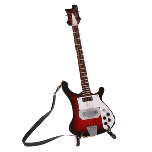 Image 2 - 20センチメートルミニチュア木製エレキベースギターモデル1/6アクションフィギュアアクセサリー #4