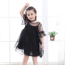 цены на Kids girls dress new summer 2019 mesh polka dot fluffy baby dress cotton lace children's clothing  в интернет-магазинах
