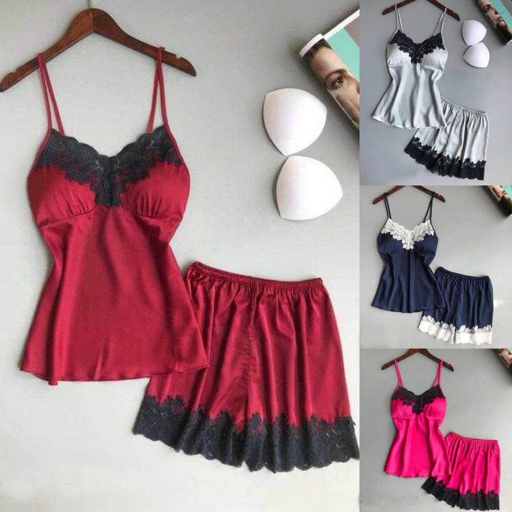 Women Satin Lace Sleepwear Babydoll Lingerie Nightwear Summer Cool Satin Camis + Shorts Pyjamas Set