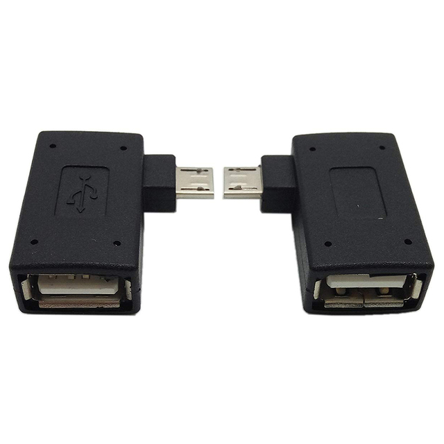 hot-1 Pair (Left+Right) 90 Degree Angled Micro-USB 2.0 to OTG Host Adapter with USB Power Connector For Mobile Phone Tablet 2