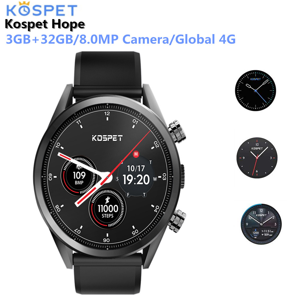 Kospet надежда 4G Smartwatch телефон Android 7,1 4 ядра 1,3 ГГц 3 GB 32 GB 8.0MP Камера IP67 BT V4.0 Водонепроницаемый умные спортивные часы