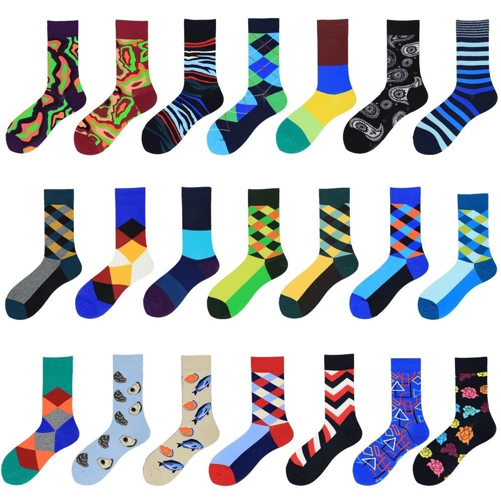 PEONFLY 2020 Hot Sale Casual Men Socks Fashion Design Plaid Striped Sokken Classic Colorful Business Cotton Socks Happy Men