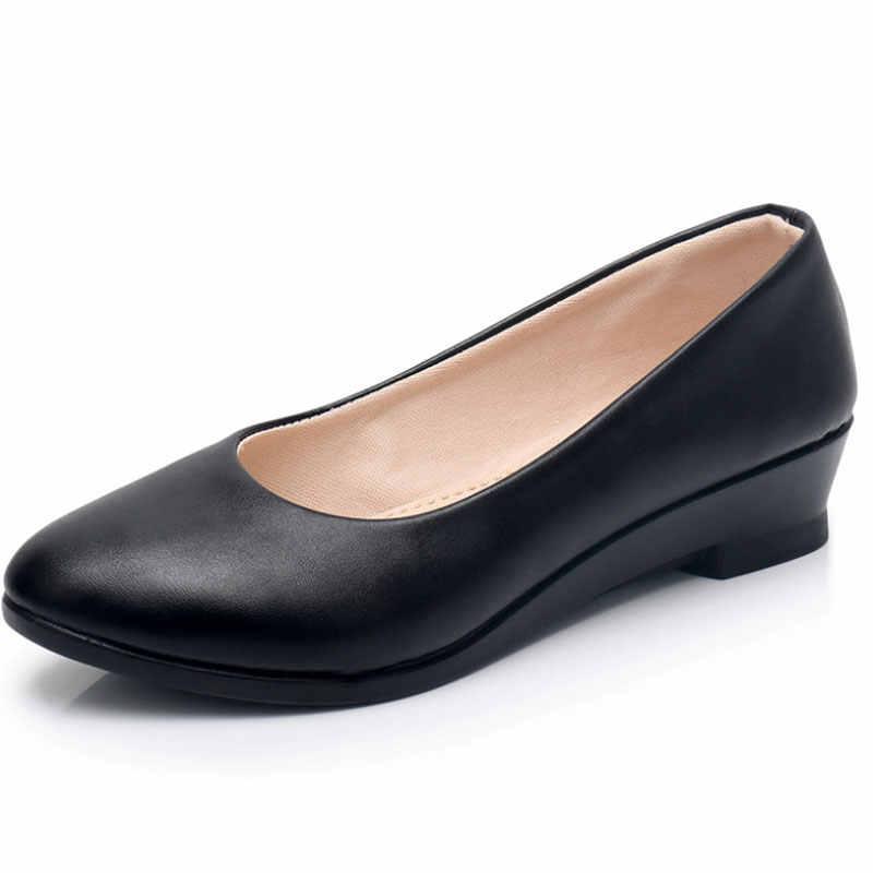 New Ladies Black Pumps Formal Low Heel