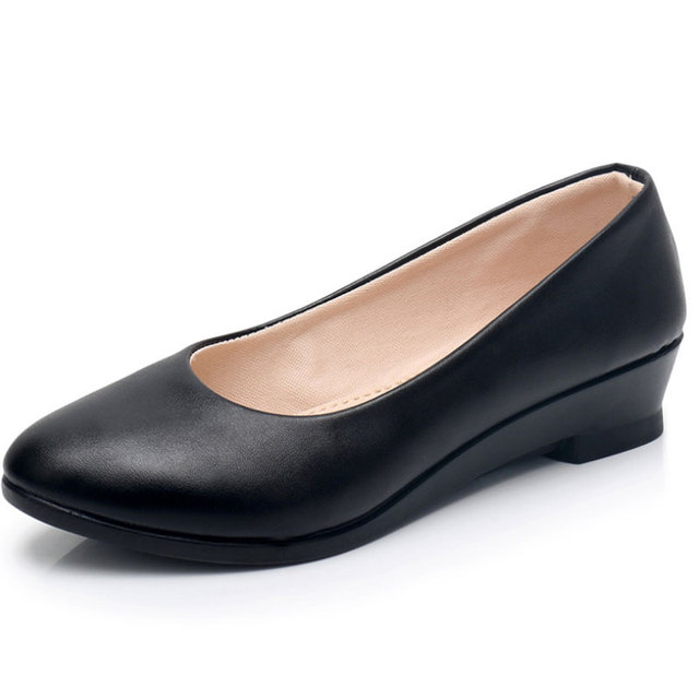 New Las Black Pumps Formal Low Heel Wedges Shoes Comfort Women Office Leather Work Mom Womens In S From