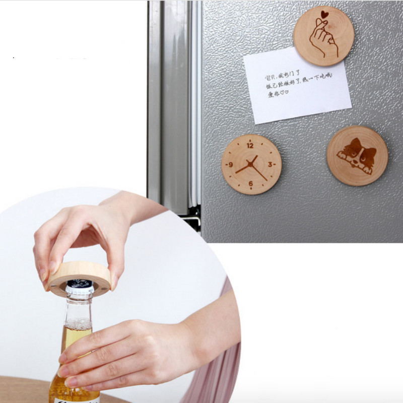 12PC Personalized Round Wood Bottle Opener Refrigerator magnet Wedding Favors Gifts Baby Shower Home DIY Souvenirs