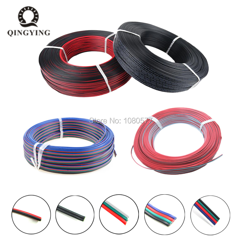 10/20/50/100m 2Pin <font><b>3Pin</b></font> 4Pin 5Pin 22AWG Cable Tinned Copper PVC Insulated <font><b>Wire</b></font> For 3528 5050 RGB WS2812B LED Strip Connecting image