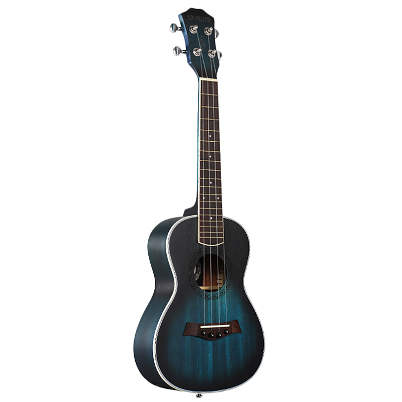 Andrew Ukulele Concert Ukulele 23 Inch 4 Strings Guitar Hawaiian Mahogany Blue Uke Stringed Instrument