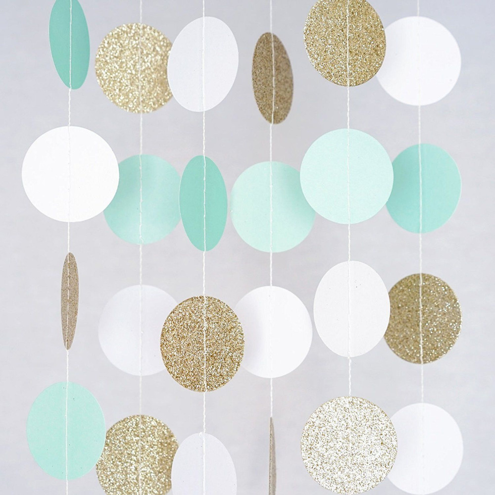 Mint,White,Gold Glitter Circle Dots Paper Party Garland Backdrop Celebration Wedding Birthday Baby Shower Events Festival Decor