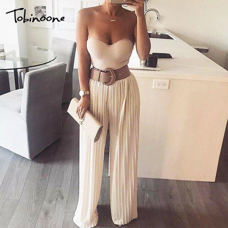 Tobinoone Ruffle strap wide leg jumpsuit women High waist oversized casual jumpsuit Autumn winter street jumpsuit plus size 2018