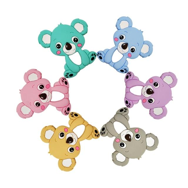 Mordedor de silicona de grado alimenticio Diy Animal Koala bebé anillo mordedor bebé silicona masticar encantos niños dentición regalo juguetes para niños