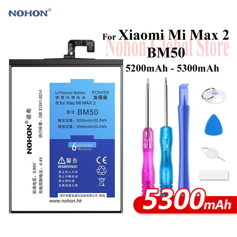 Nohon Batterie Für Xiao mi Max 2 BM50 5200 mah 5300 mah Hohe Kapazität Telefon Li-polymer Bateria + kostenlose Tools Für mi Max 2 Max2 Batterie