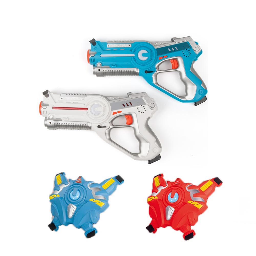 2Pcs Infrared Laser Tag Blaster Laser with 2 Target Vests Indoor and Outdoor Family Activity for