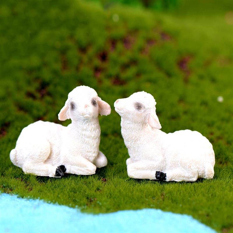 1pc Resin Sheep Figurine Cute  Ornament Micro Landscape Miniatures Flowerpot Decor Christmas Gift For Kids Random Style