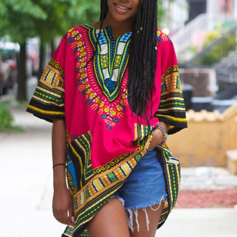 African Shirt Dress women Dashiki print Hippie Caftan Unisex Tribal 4 Colors 2XL