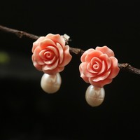 2019 New Ethnic 925 Sterling Silver Woman Drop Earrings Natural Pink Coral Flower with Freshwater Pearls Handmade Jewelry