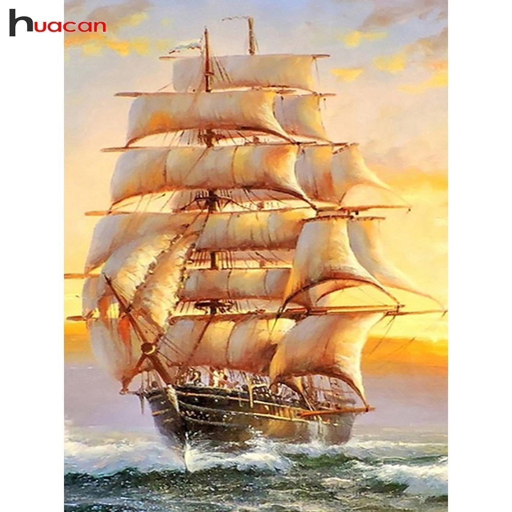 HUACAN Full Drill Square 5D DIY Diamond Painting Sailboat Diamond Embroidery Landscape Picture Of Rhinestone Decor HomeHUACAN Full Drill Square 5D DIY Diamond Painting Sailboat Diamond Embroidery Landscape Picture Of Rhinestone Decor Home