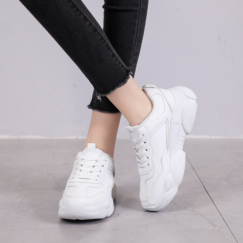 Women 2019 New Fashion Dad Shoes Chunky Sneakers Shoes Sneakers Women White Shoes Lace up Comfortable Shoe Female Trainers Women in Women 39 s Vulcanize Shoes from Shoes
