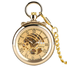 Golden Pocket Watch for Men,Mechanical Movement Vintage Necklace Pocket Watch for Man, Roman Numerals Pocket Watches for Boys man mechanical pocket watch shield shape cover retro vintage classic silver ipg plating copper brass case good quality