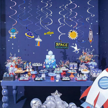 30pcs Outer Space Adventure Foil Swirl Decoration Solar System Planet Hanging Whirls Kids Birthday Party Baby Boy Shower