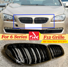 F12 Front Grille ABS Gloss Black For 6-Series Grills M-Style 640i 640d 650i 650d Double Slats Kidney  2012-2017