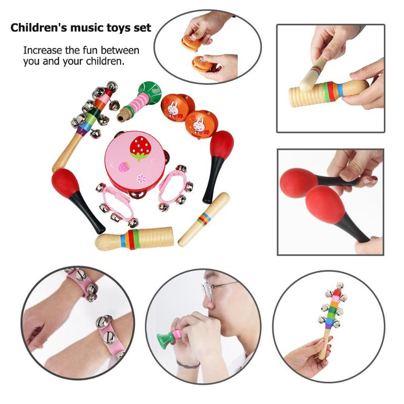 10pcs/set Musical Toys Orff Instruments Band Rhythm Kit Tambourine Maracas Castanets Hand Bells for Kids Music Teaching Tools