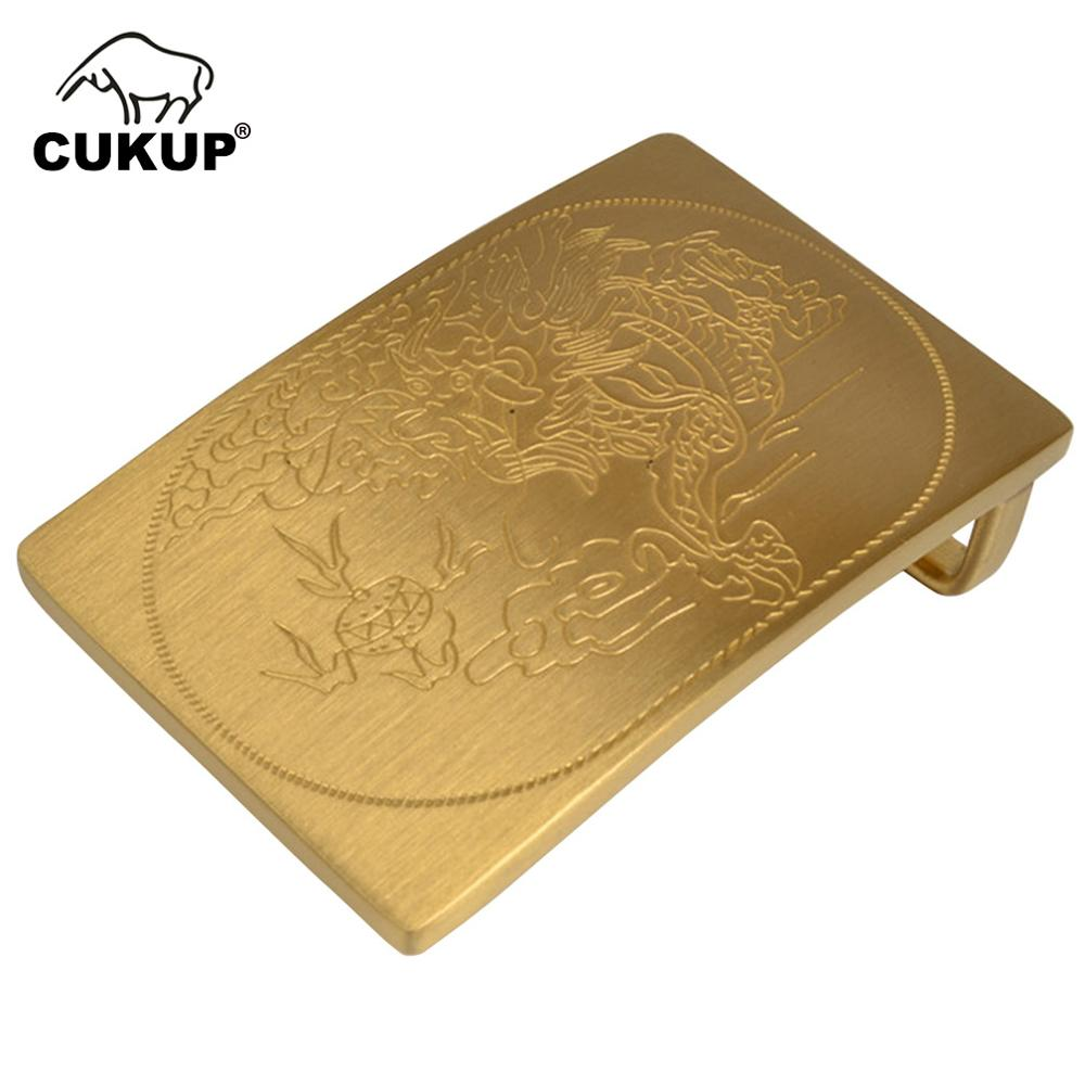 CUKUP Unique Design Carving Dragon Pattern Male Chinese Styles Smooth Gold Man Belt Buckles Solid Brass Metal For Men BRK053