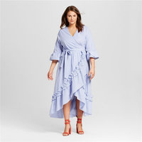 Women 2018 Dress Hot Fashion Plus Size 6XL Summer Dresses Vestidos Sexy V Neck Blue Striped Ruffles Irregular Long Dress 5XL