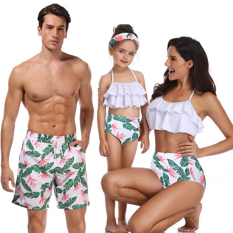 Bikini plage shorts famille maillot de bain maman et moi vêtements maillot de bain maman tenues look mère et fille famille correspondant maillots de bain 4