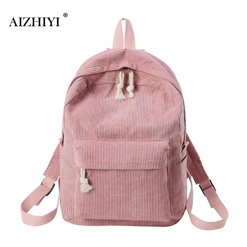 Preppy Style Women Canvas Backpack Soft Fabric School Bag For Teenagers Girls Backpack Corduroy Design Rucksack Mochila Feminina