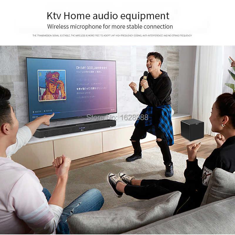 60W A9K Nirkabel Soundbar dengan Mikrofon Nirkabel KTV Subwoofer Bluetooth Sound Bar untuk TV Speaker Home Theater Bass AUX tf Usb