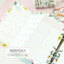 купить MyPretties Floral Monthly Planner Refill Papers A5 A6 Three Fold Papers for 6 Hole Binder Organizer Notebook Papers for Planner дешево
