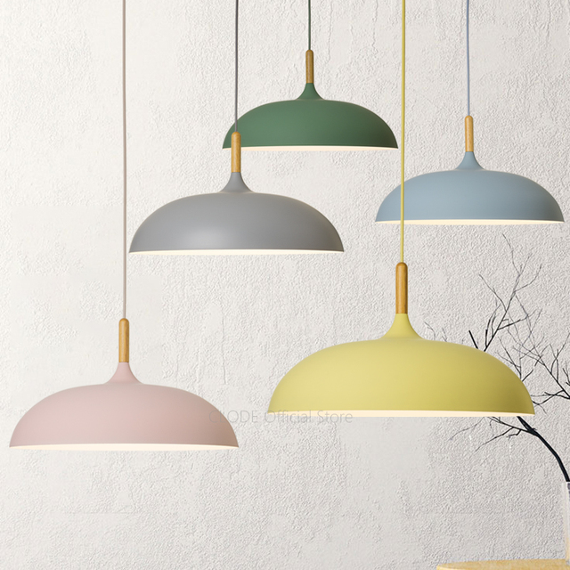 Minimalist bedroom Colorful Nordic Lamp shades decorate macaron pendant lights for restaurant or living room AC110V/220V E27
