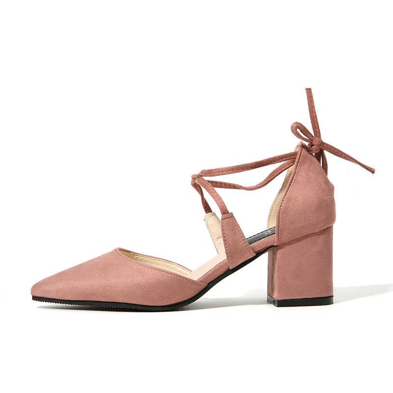 NIS/женские туфли-лодочки с острым носком, черные/бежевые/розовые/армейские зеленые замшевые туфли на среднем каблуке с перекрестной шнуровкой, Женские однотонные туфли на шнуровке