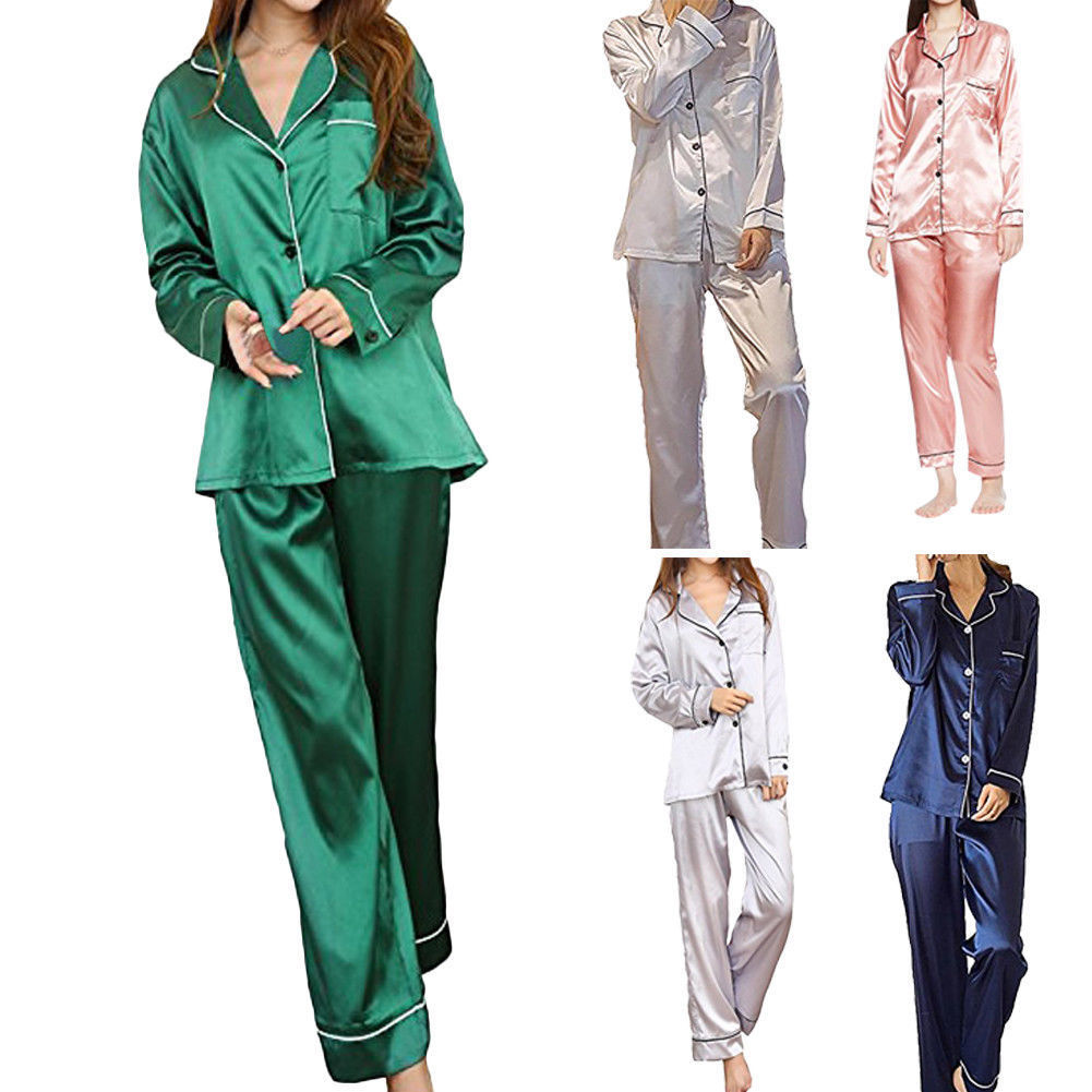 Newest Style 2Pcs Women Silk Satin Casual Loose Solid Pajamas Set Long Sleeve Tops+Pants Sleepwear Nightwear Autumn Clothes