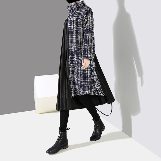 [EAM] 2019 New Spring  Winter High Collar Long Sleeve Black Plaid Printed Side Pleated Stitch Loose Dress Women Fashion JK830 2