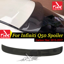 цена на Fit For Infiniti Q50 ST Style Car Tail Lip Wing Spoiler 2015-in Q50 Q50S 4Door Carbon Fiber Rear Roof Window Spoiler Car-Styling