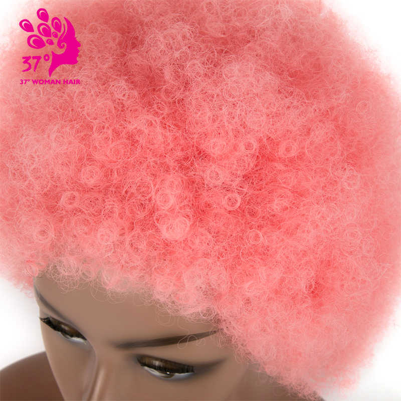Dream ice Peluca de pelo corto sintético afro rizado Rosa Azul Rojo Negro púrpura marrón crecido ombre cosplay peluca para mujeres negras