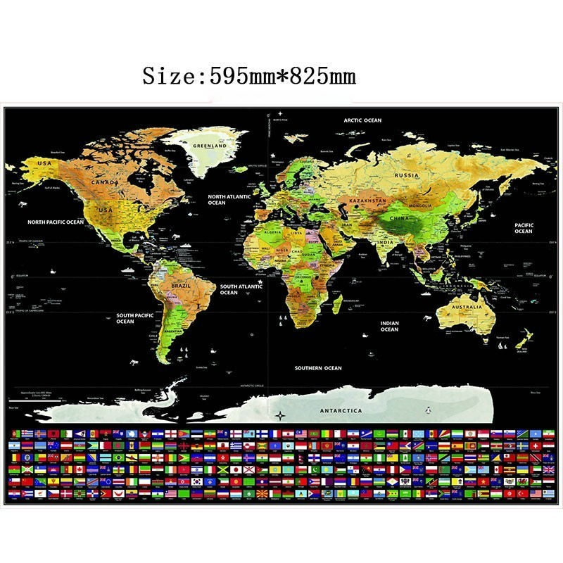 World Map Scratch Off World Travel Map Poster Copper Foil Personalized Journal Log Big Size Without Cylinder Packing