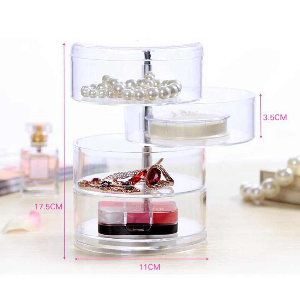 Cosmetic Organizer 1PC Cosmetic Jewelry Box Acrylic Rotating Circular Creative Transparent Case Container Desktop Storager