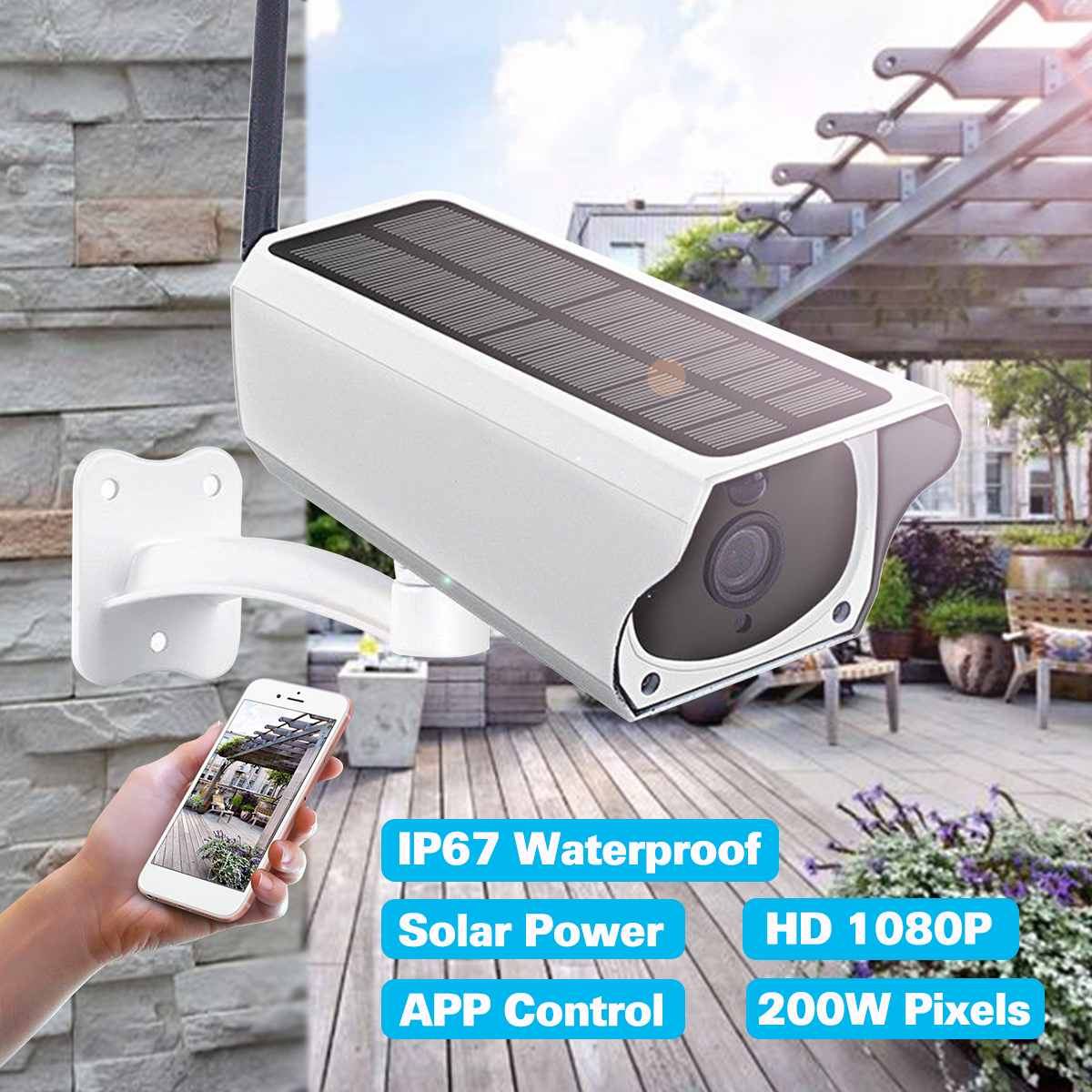 1080P HD Wifi Wireless Camera Home Security Surveillance Waterproof Outdoor Solar Camera IR Night Vision Audio Camera Speaker